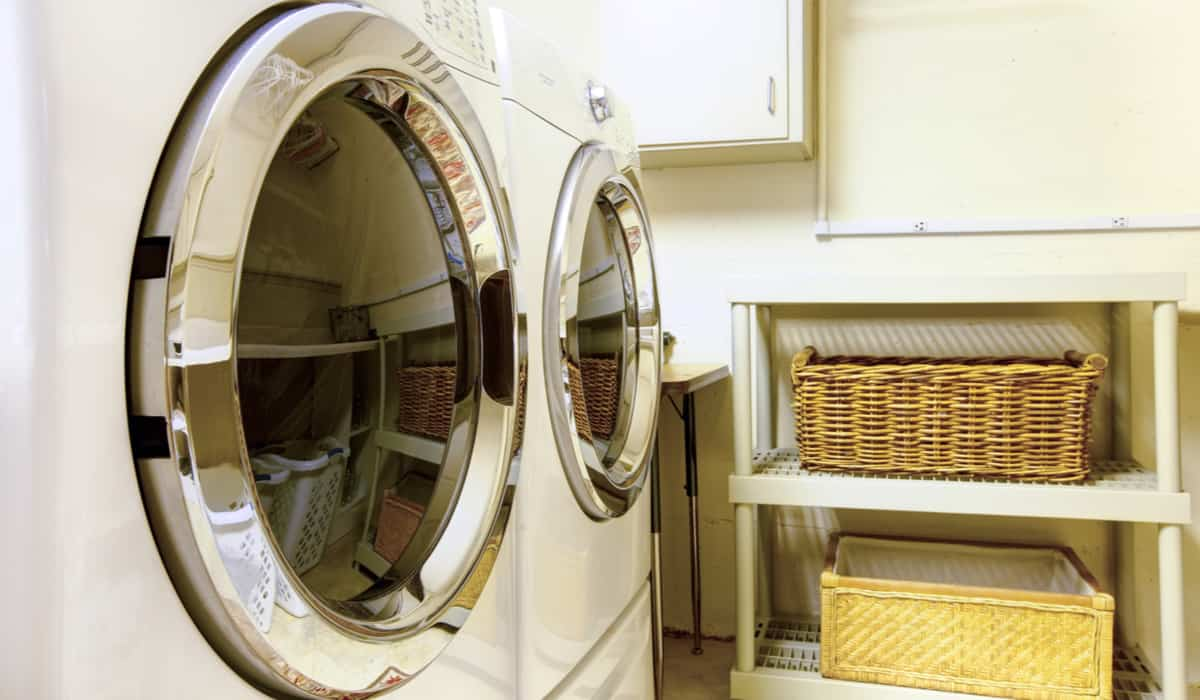 Close-up of washer and dryer in laundry room.
