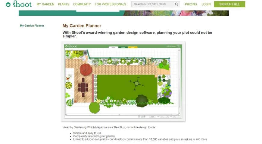 Shoot Garden Planner interface