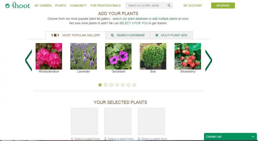 Shoot Garden Planner plants feature