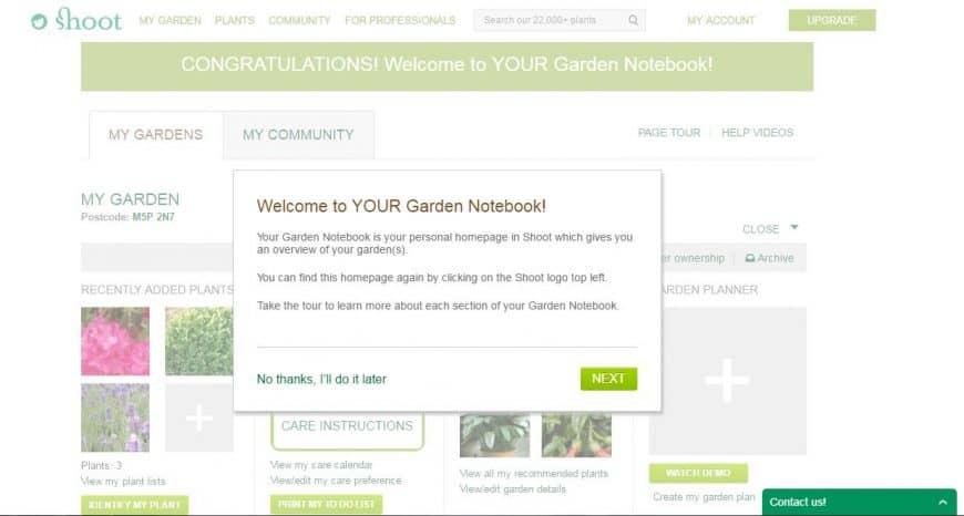 Shoot Garden Planner garden notebook feature