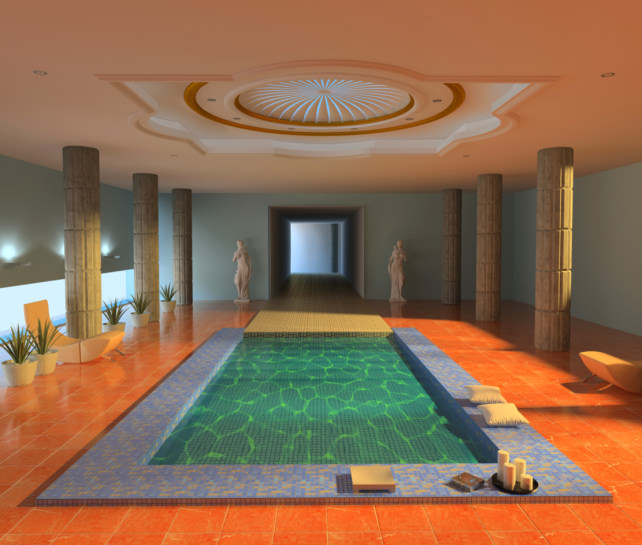 A staggering indoor swimming pool offering orange tiles floors and an awesome tray ceiling.