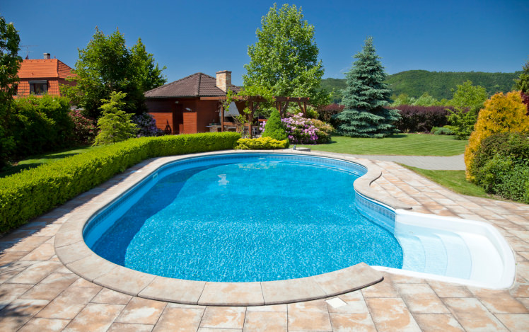 A kidney-shaped swimming pool with white steps and concrete paving surrounded by manicured shrubs and bushes along with a pergola covered in lovely flowers.