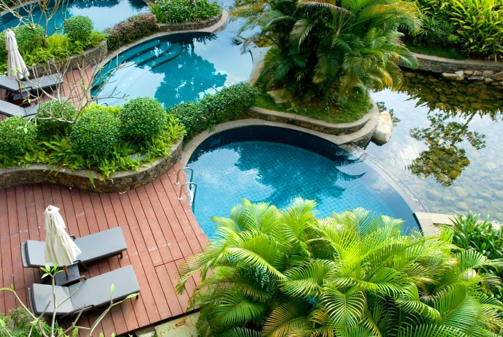 Luxury swimming pools accented with leafy plants and trees offer gray lounge chairs and white umbrellas that sit on wooden decks.