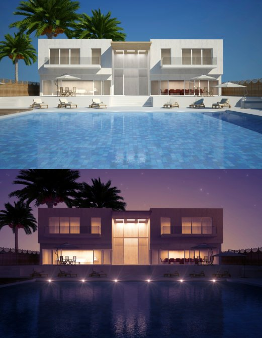 A view of this swimming pool where it sparkles during daytime and stuns during nighttime. It blends perfectly with the modern house sporting a minimalistic look.