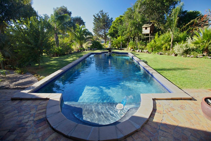 A swimming pool with a fountain feature on its end sits on the green lawn that's filled with plants and towering trees.