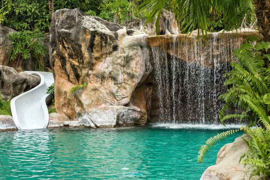 small swimming pool with waterfall and slide at high resolution - Cool Pools With Waterfalls And Slides