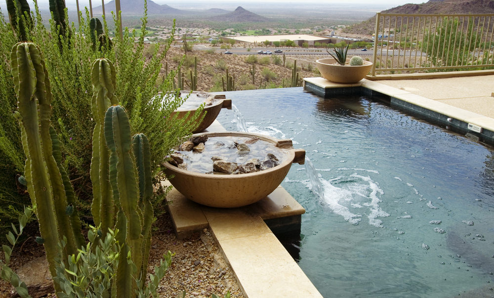 A closeup look at this infinity pool with water features accented with cactus and other desert plants.