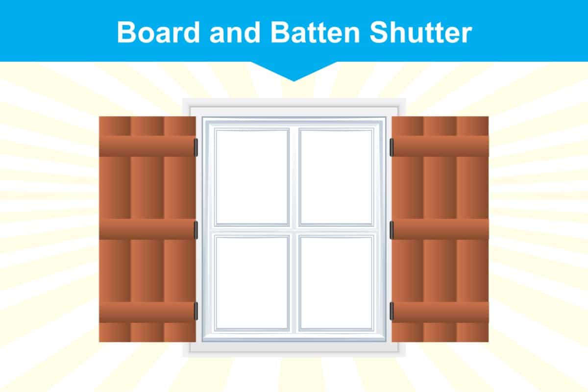 Board and Batten window shutter illustration