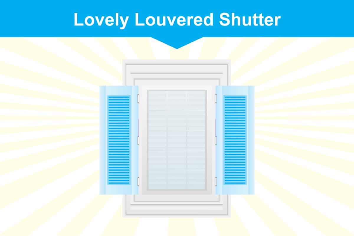 Louvered window shutter illustration