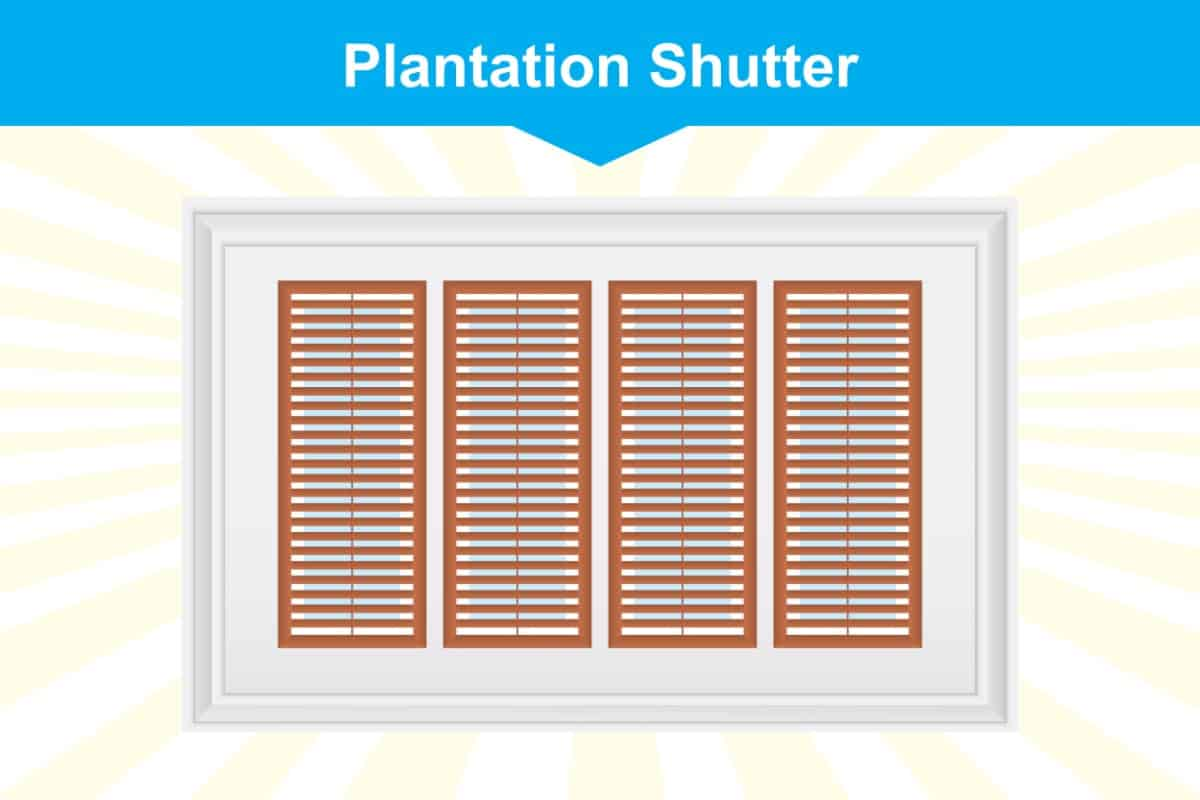 Plantation window shutter illustration
