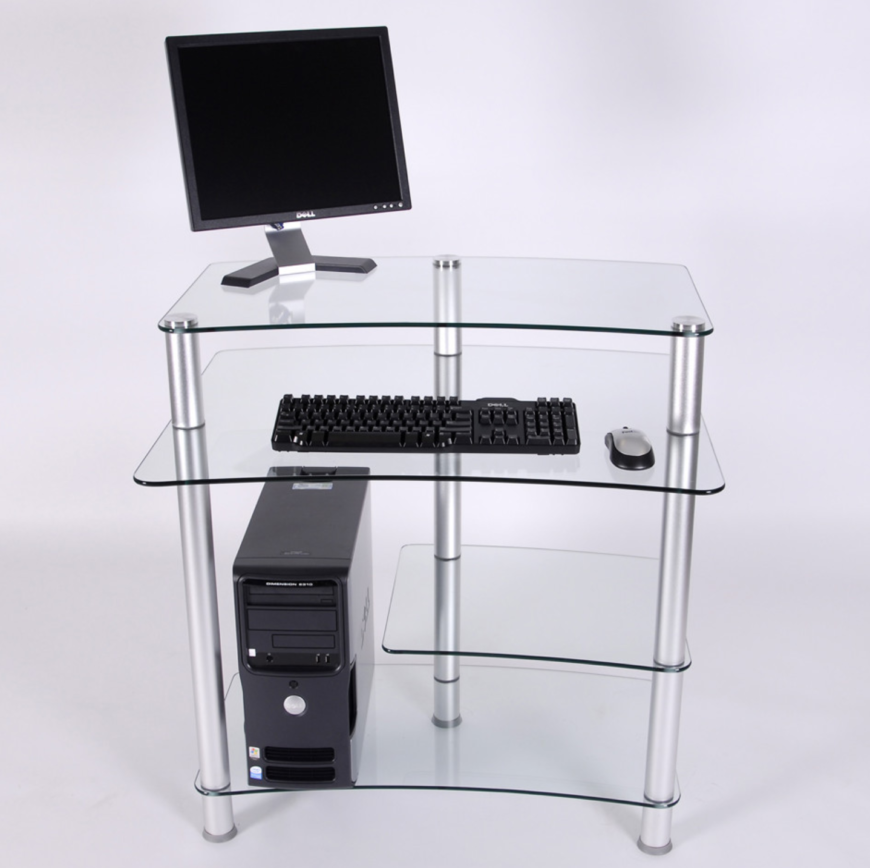 Glass Computer Desk With Keyboard Tray