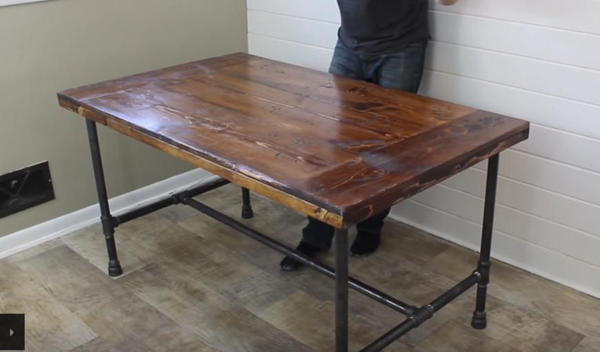 Diy Industrial Dining Room Table Back To Home Design  : Industrial diy dining table 870x511 from www.amlibgroup.com size 870 x 511 png 541kB