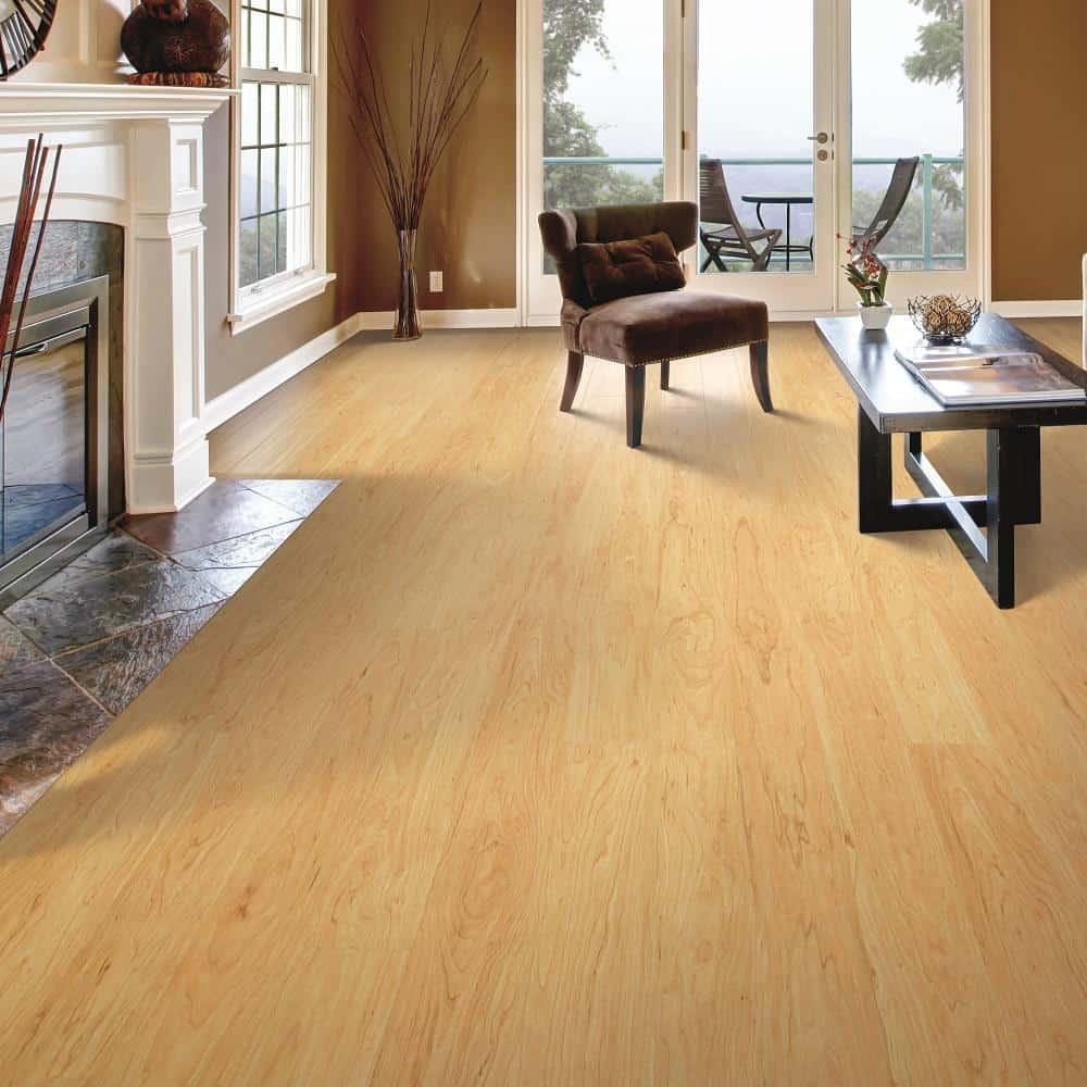 Light laminate flooring example.
