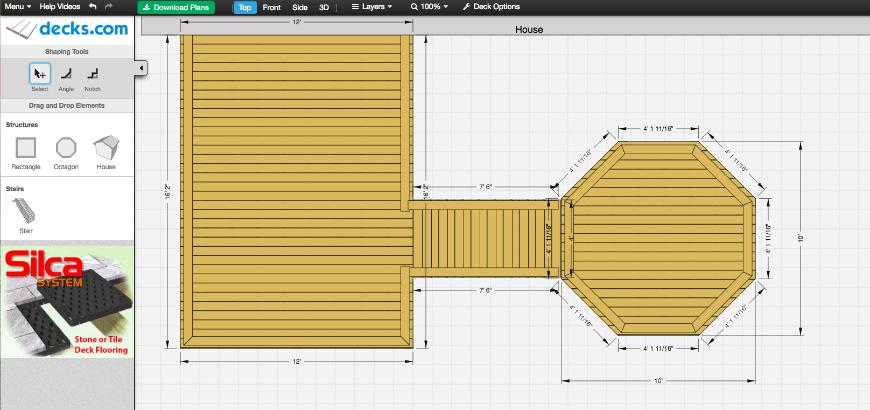 Decks.com Deck Designer interface 1