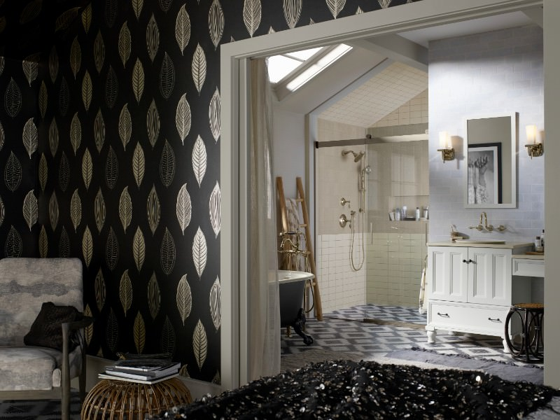 heres a brooding masculine bathroom design with a real touch of traditional via the wood paneling and wallpaper this is bathroom you could image that came