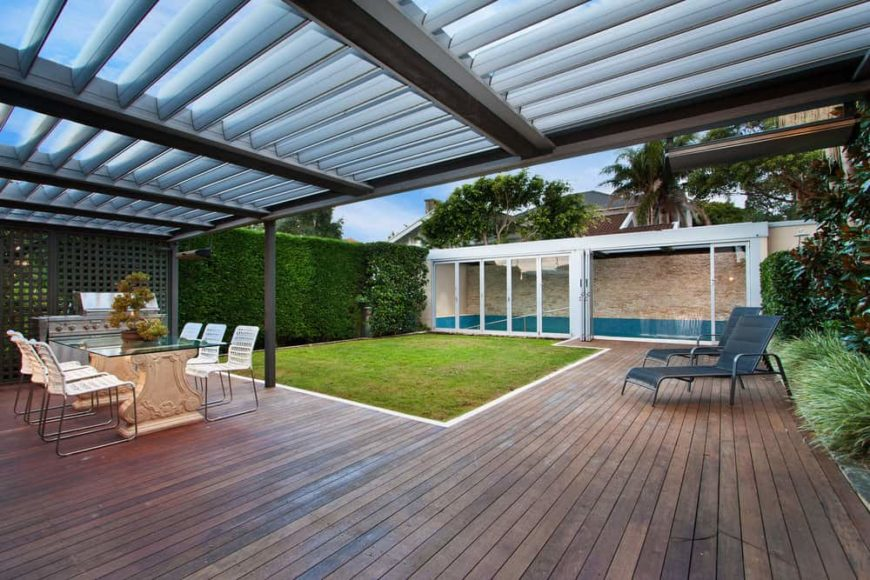 Large partially covered backyard deck.