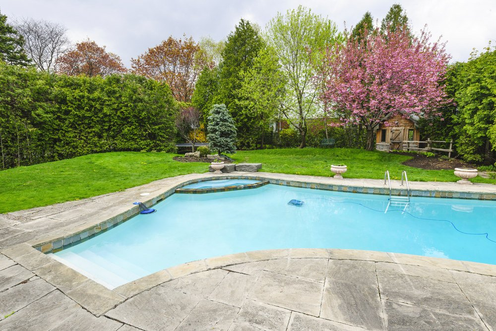 A swimming pool on a lush green lawn with hedge and concrete deck. It includes a pool house accented with a gorgeous pink tree.