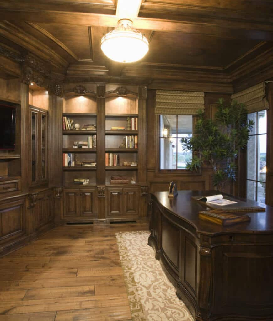 An all wood home office with built-in shelving and dark wood desk on a gray patterned rug accented with an indoor plant which adds life to the room.