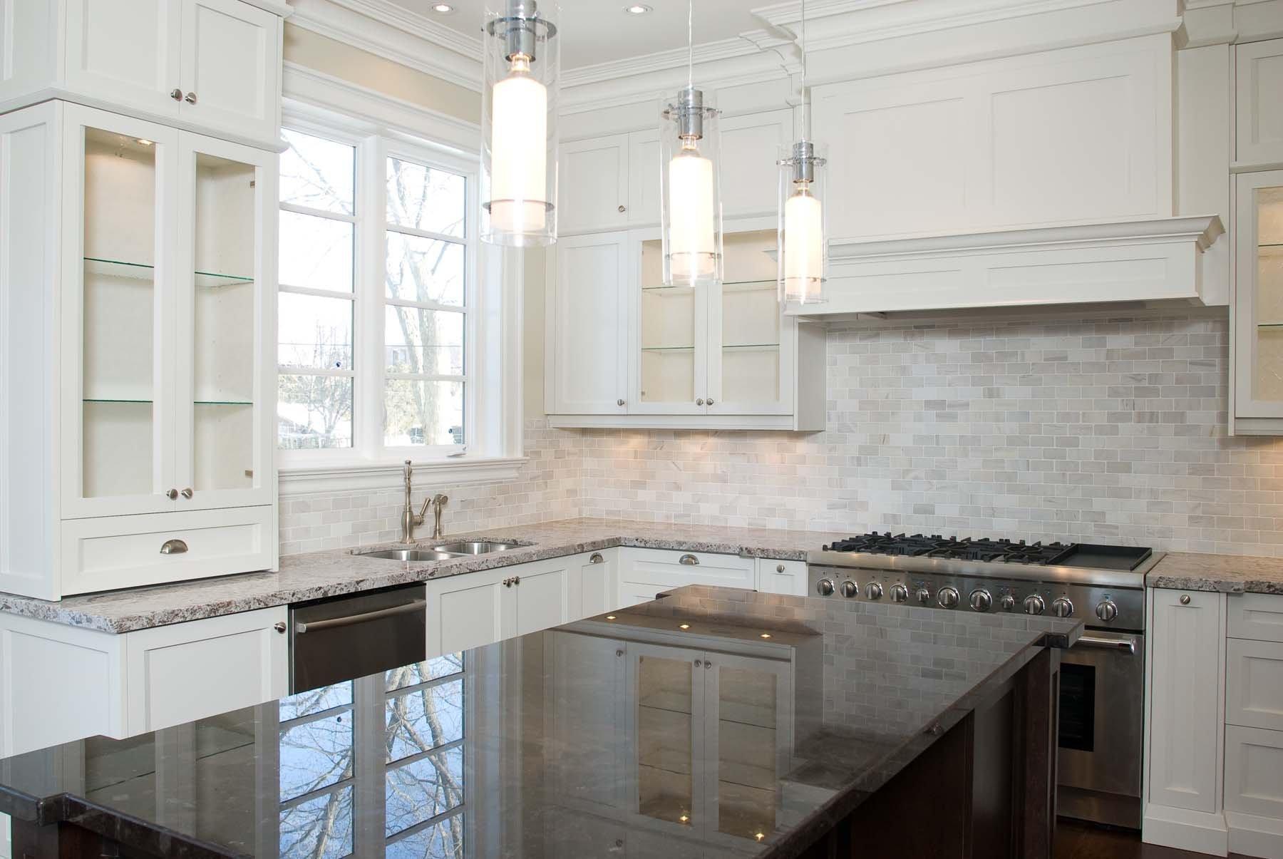 White kitchen backsplash.