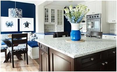 Beach home decor style kitchen.