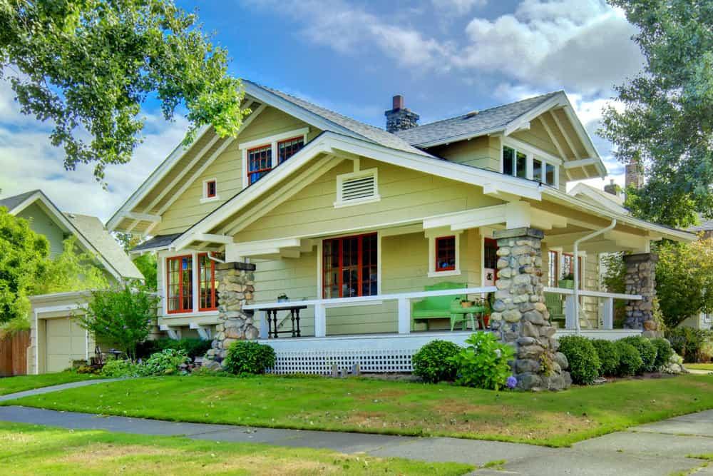 Yellow craftsman home exterior