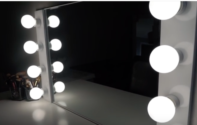 DIY VANITY MIRROR WITH LIGHTS for under 100 bucks