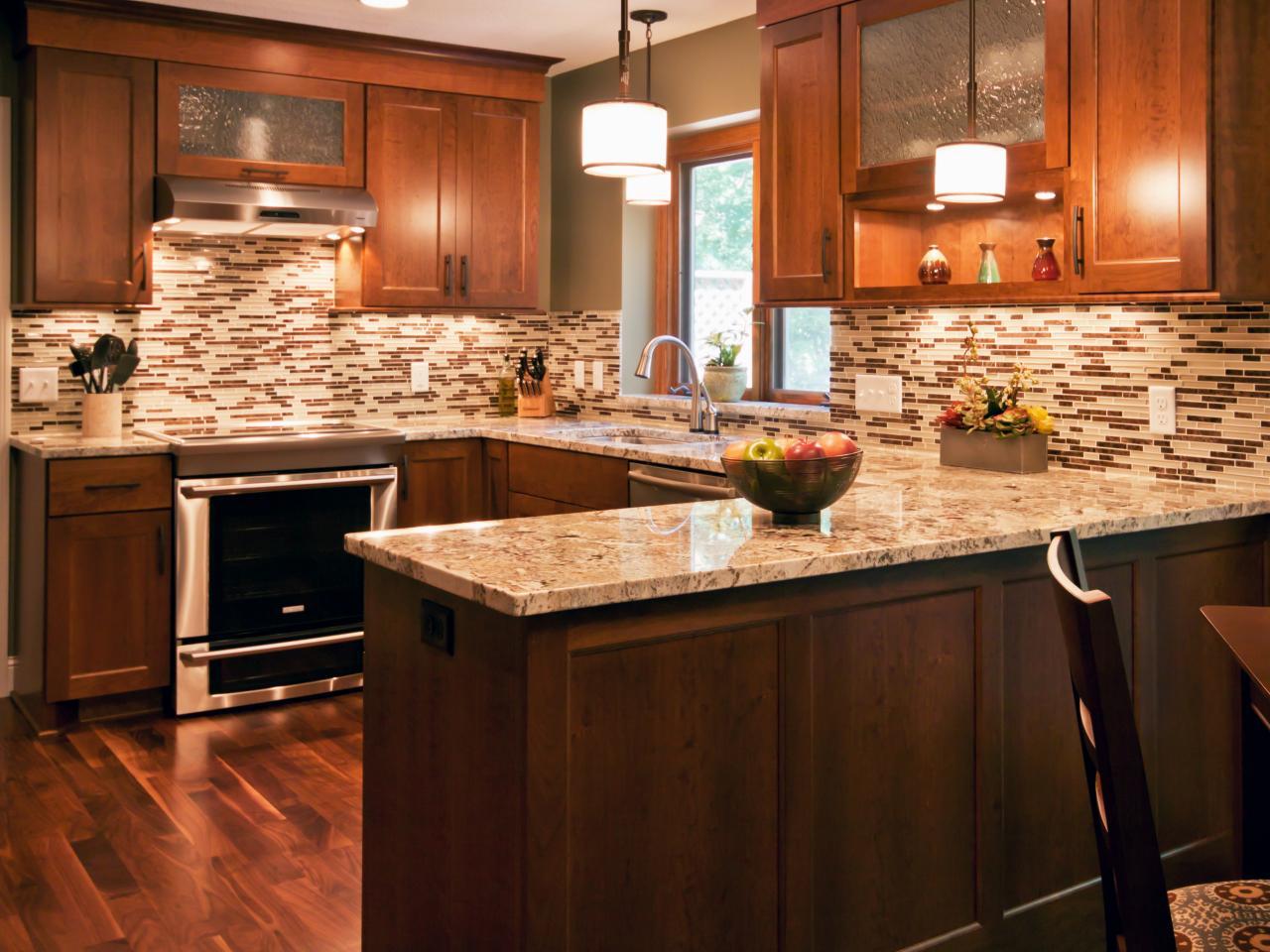 Mosaic tile kitchen backsplash.