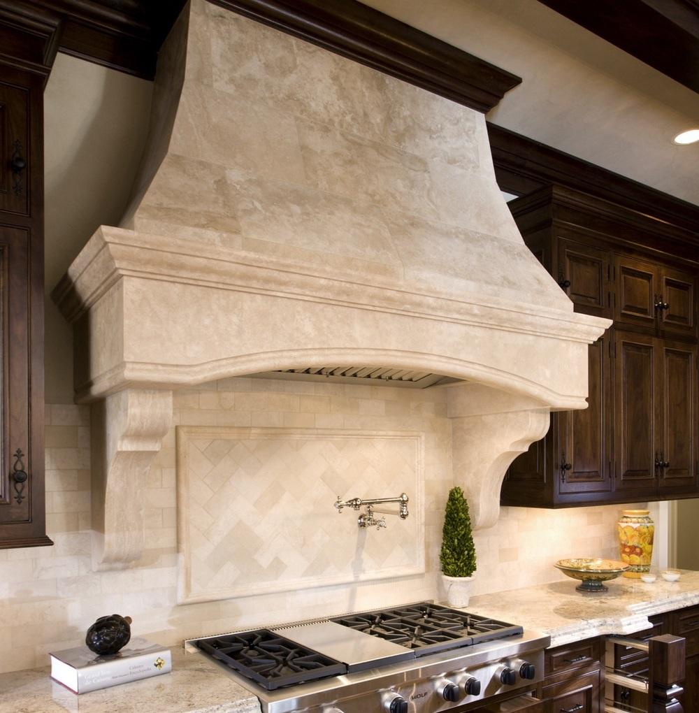 Limestone kitchen backsplash