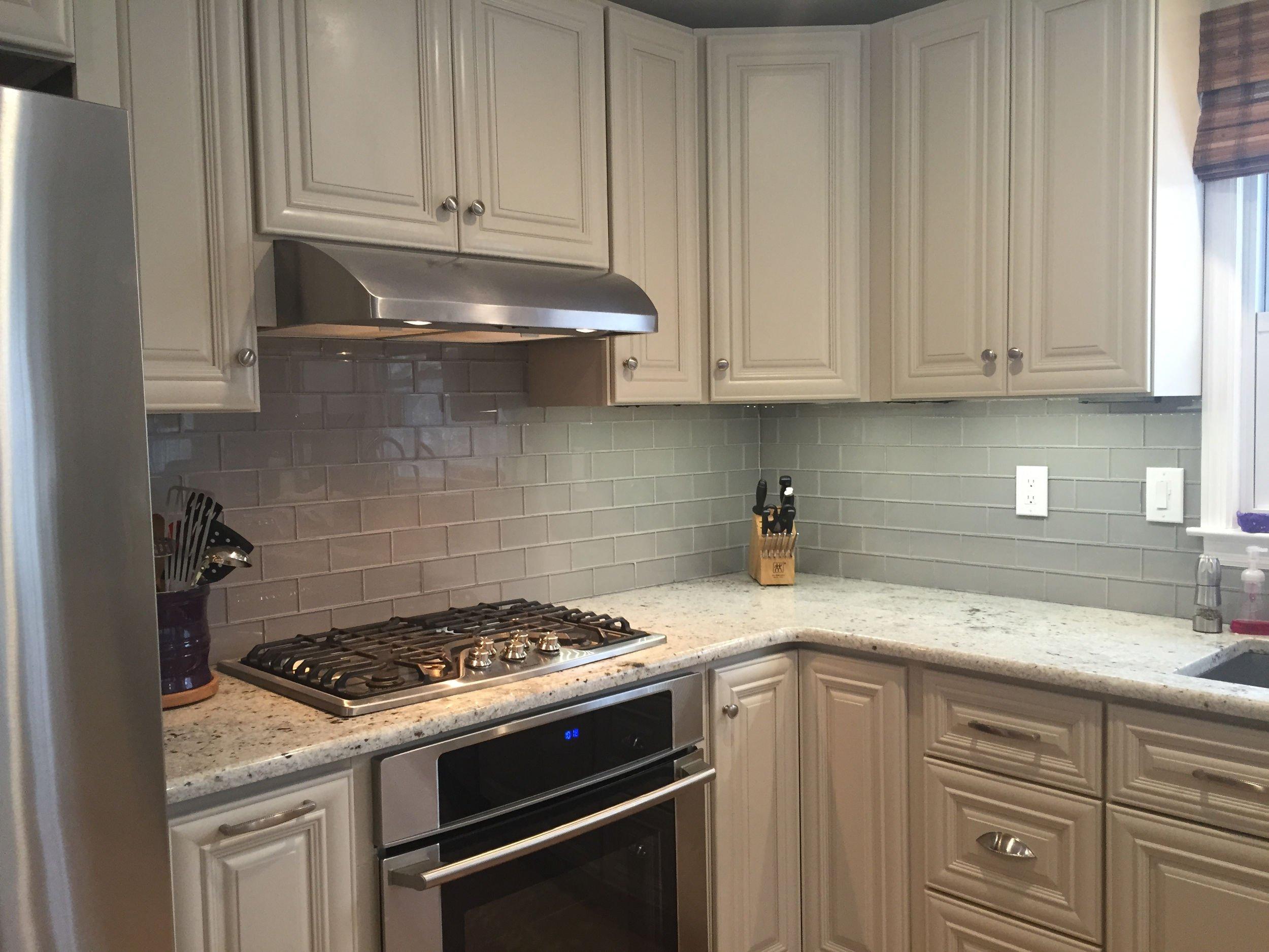 Gray kitchen backsplash.