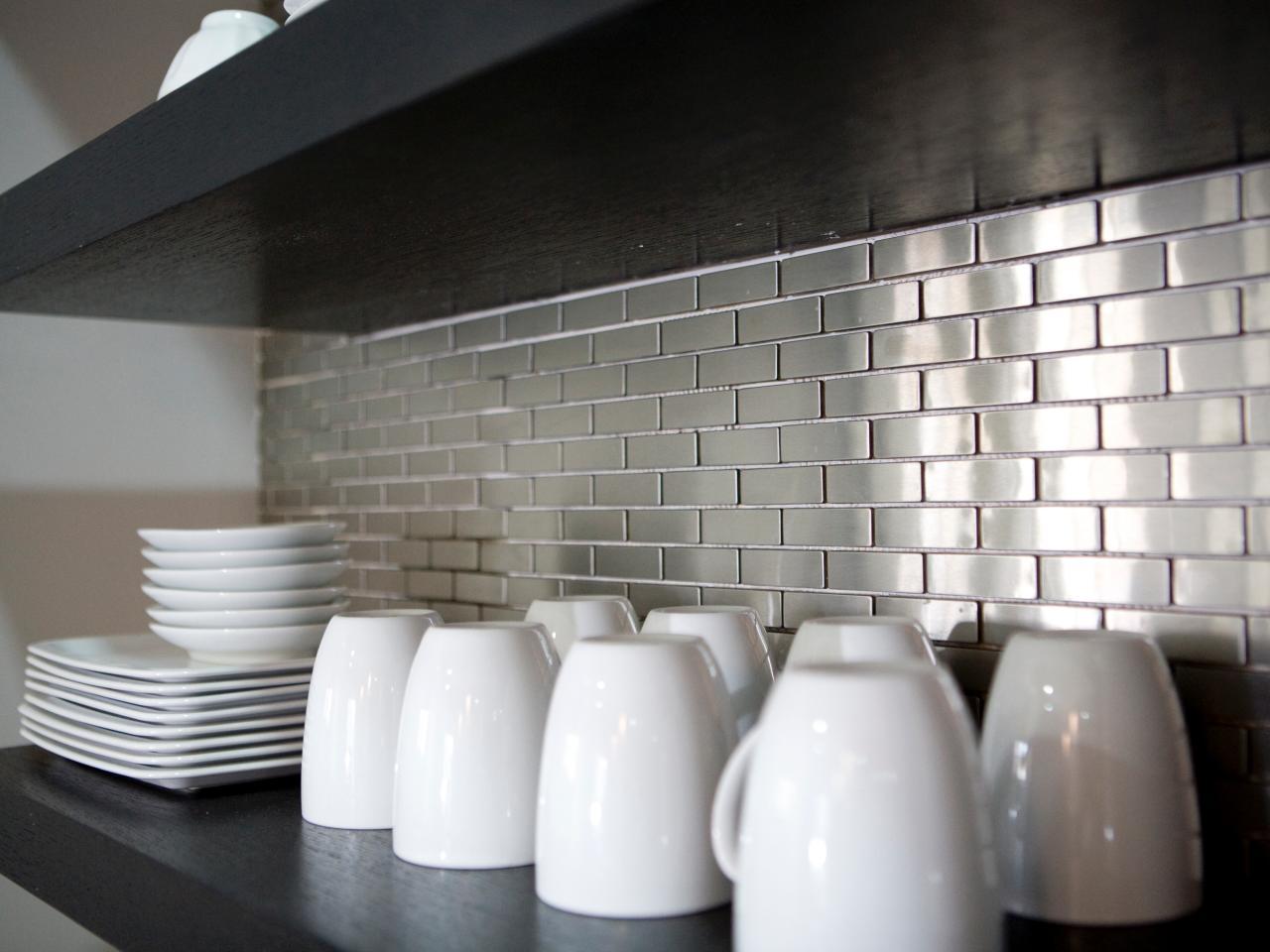 Metal tile kitchen backsplash.
