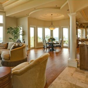 Mediteranean style living room and kitchen.