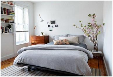 Simple midcentury bedroom.