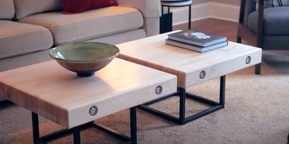 Modern Maple and Steel Coffee Table
