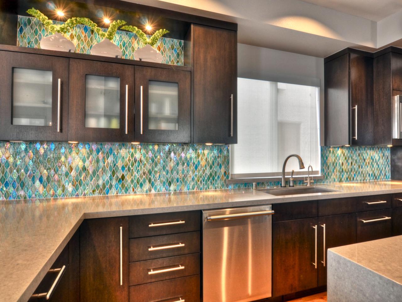 Glass tile kitchen backsplash.