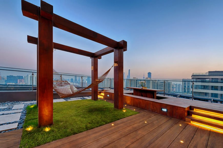 wood rooftop deck with hammock