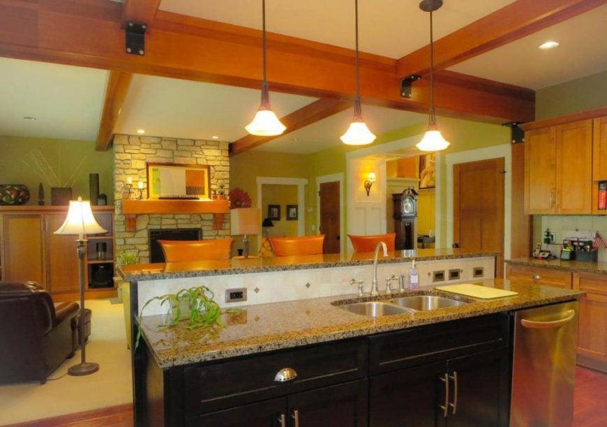 Open concept Craftsman interior design.