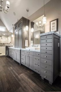 Example of bathroom with amazing double vanity and custom storage cabinets/drawers.
