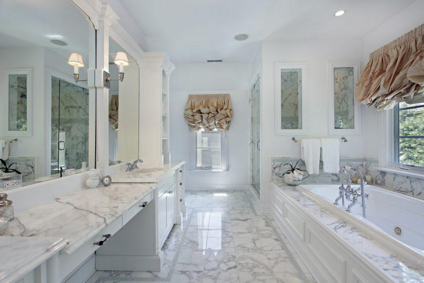 Stunning bathroom with marble vanity countertop