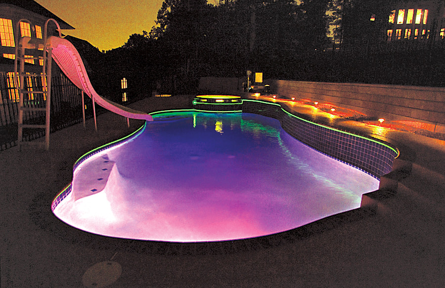50 in ground swimming pool lighting ideas and colors for Above ground pool lighting ideas