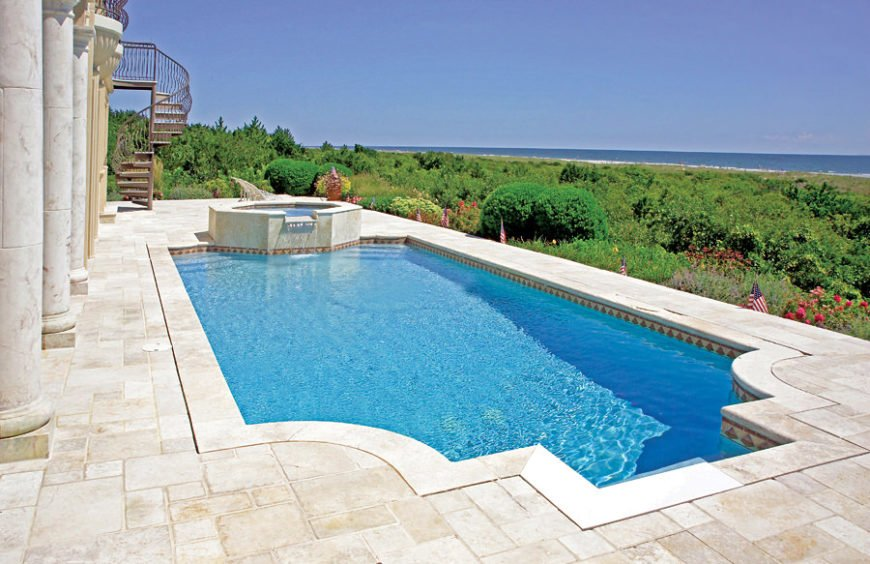 source bluehaven pools spas - Rectangle Pool With Spa