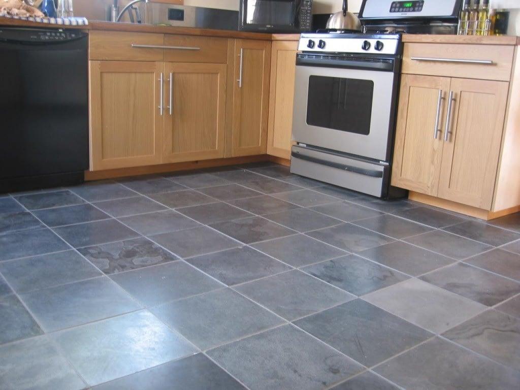 blue color kitchen floor image