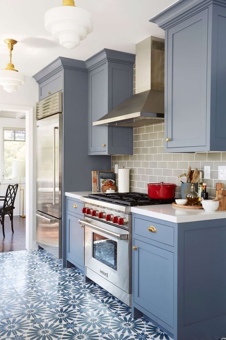 Blue kitchen cabinet image