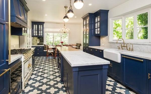Blue kitchen color image