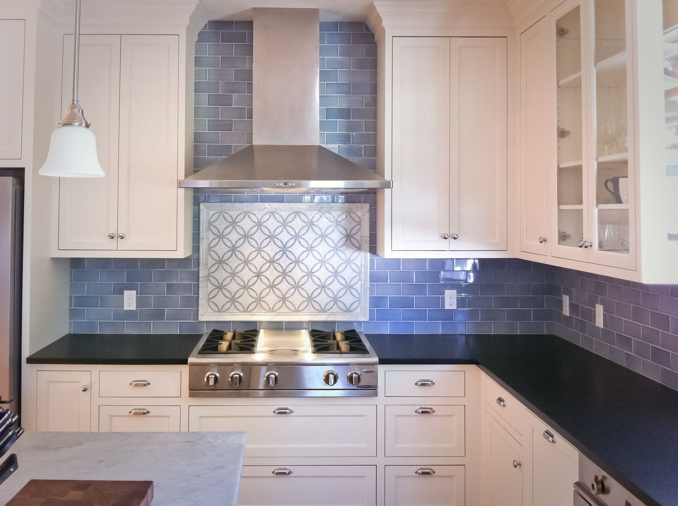 Blue Kitchen Backsplash.