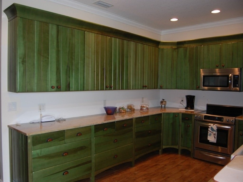 Distressed kitchen cabinet image