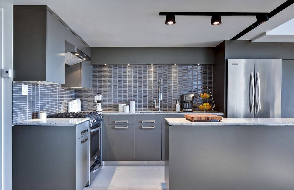 Gray kitchen cabinet image