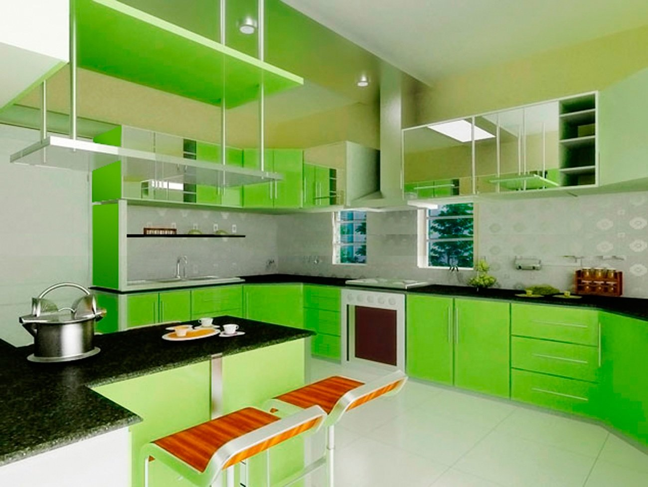 Green kitchen cabinet image