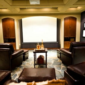 Luxury home theater with cinema style seating.