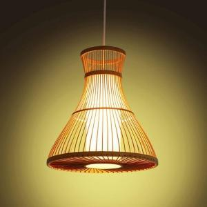 Wood bamboo pendant light