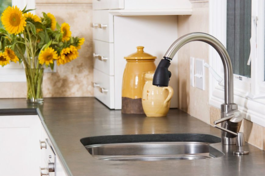 Single neck kitchen faucet with soap dispenser